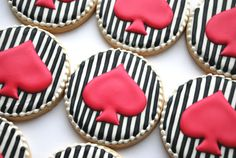 Black & White with Hot Pink Spade Cookies - One Dozen Decorated Sugar Cookies