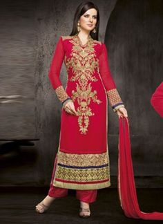 Marvelous Magenta Fancy Embroidery Work Designer Pakistani Salwar Suit