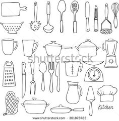 Kitchen Tools Drawings kitchen tools | food illustrations, illustrations and doodles