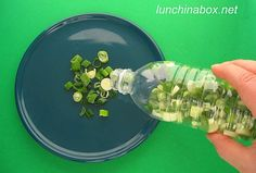 Freeze green onions in a water bottle, then just shake out what you need, when you need it. Brilliant!