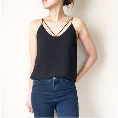 ✳️LAST DAY SALE chic spaghetti tank top w lining Top quality . Jamie Chung rock it and so can you. New spaghetti strap tank top. Modern chick romance look. With lining. Chiffon like top. I am a size s wearing size s. Tops Tank Tops