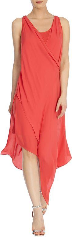 Womens coral red elba drape dress from Coast - £89 at ClothingByColour.com