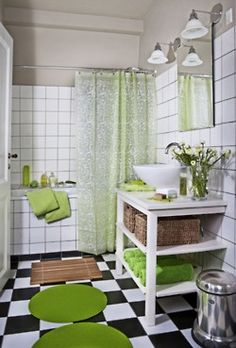 really love the idea of a bright green white bathroom - Green Bathroom Idea