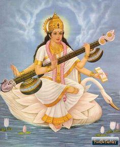 Saraswati, Goddess of music with swan.