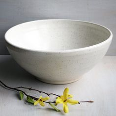Extra Large White Serving Bowl Handmade White Speckled Rustic Bowl Handmade Ceramic Pottery Ready to Ship Made in USA