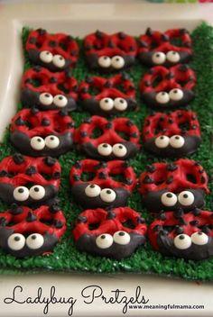 Ladybug Pretzels Ladybug Pretzels, Ladybug Party, Ladybug Food, Ladybug Cupcakes, Ladybug Cookies, Kitty Cupcakes, Snowman Cupcakes, Giant Cupcakes, Chocolate Covered Pretzels