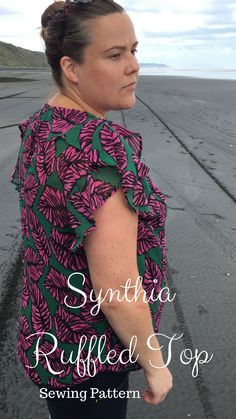 Synthia ruffled top sewing pattern from designer stitch.A perfect top. Plus Size Sewing Patterns, Modern Sewing Patterns, Ruffle Top, Ruffles, Rockabilly Fashion, Diy Fashion, Beautiful Outfits, Plus Size Fashion, Vintage Outfits