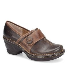 Love this Coffee Red & Brown Lina Leather Clog on #zulily! #zulilyfinds
