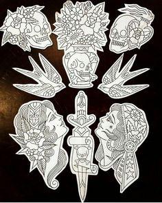 Traditional Tattoo Old School, Traditional Tattoo Design, Traditional Tattoo Flash, Rose Tattoos, Black Tattoos, Body Art Tattoos, Sleeve Tattoos, 1 Tattoo, Dark Tattoo