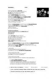 English worksheet: wonderwall     OASIS