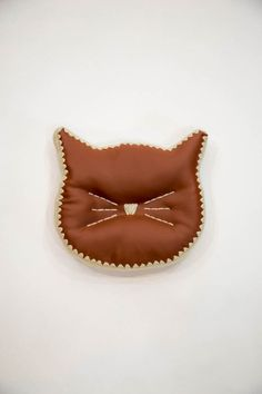 Cat Head Silhouette Decorative Pillow (Accent Pillow: Saddle Brown Faux Leather & White Crochet Edgi //product details//This listing is for a PRE-MADE decorative cat pillow! Stylishly perfect for every cat lover! The pillows are 11 Cat Pillow, Accent Pillows, Decorative Pillows, Cat Lovers, Brown Cat, Silhouette, Cats, Cat Crochet, Leather Pillow