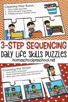 Kids can learn the order of things with these 3 step sequencing puzzles. Each puzzle features activities your preschoolers will encounter in their daily lives. via health activities health care health ideas health tips healthy meals Sequencing Cards, Story Sequencing, Sequencing Activities, Autism Activities, Preschool Learning, Therapy Activities, In Kindergarten, Educational Activities, Preschool Language Activities