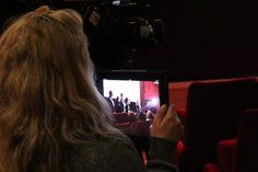 ÉCU intern, Helen, UStreams direct from Thr Petite Salle. Looking' good!