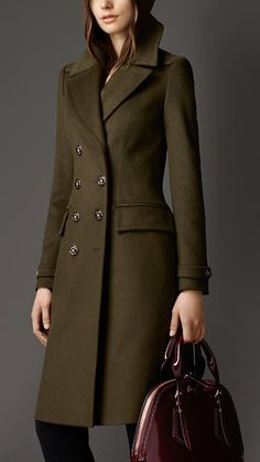 Burberry olive green wool coat