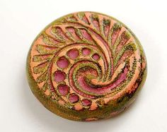 Rustic Focal Bead, polymer clay tribal motif faux ceramic, distressed, colorful