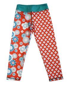 Coral Floral Blink Crop Leggings - Girls