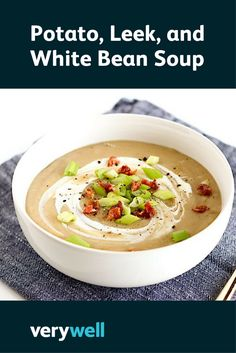 White beans and greek yogurt give this healthy potato and leek soup a boost of nutritious protein. Nutrition Meal Plan, Cheese Nutrition, Nutrition Activities, Vegetable Nutrition, Nutrition Classes, Healthy Meals For One, Healthy Soup, Healthy Recipes, Salad Recipes