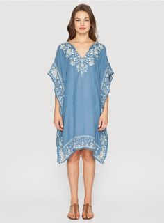 Gretchen Effortless Kaftan Embrace gypset style in the 3J Workshop GRETCHEN EFFORTLESS KAFTAN! This boho kaftan is cut for a relaxed fit in breezy handkerchief linen and features a chic geometric mbroidery design along the keyhole tie front, sides, and hemline. Throw the GRETCHEN EFFORTLESS KAFTAN on over your swimsuit for a day at the beach, or wear it over a slip dress for a boho-chic look.  - Handkerchief Linen - Keyhole Front with Tie, Short Poncho Sleeves, Knee Length - Signature…