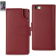 Reiko Iphone 6/6S Plus 5.5Inches Genuine Leather Flip Wallet Case W Multi-Page Car Holders &Rfid Shielded Card Slots In Burgundy