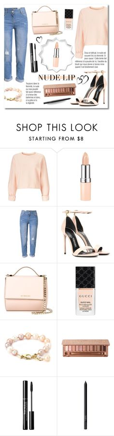 """""""The Perfect Nude Lip"""" by drinouchou ❤ liked on Polyvore featuring Miss Selfridge, Rimmel, WithChic, Tom Ford, Givenchy, Gucci, NARS Cosmetics and nudelip"""