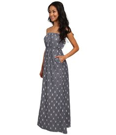 KAVU Layla Dress Moonlight - 6pm.com Gray maxi, strapless, pockets, cotton