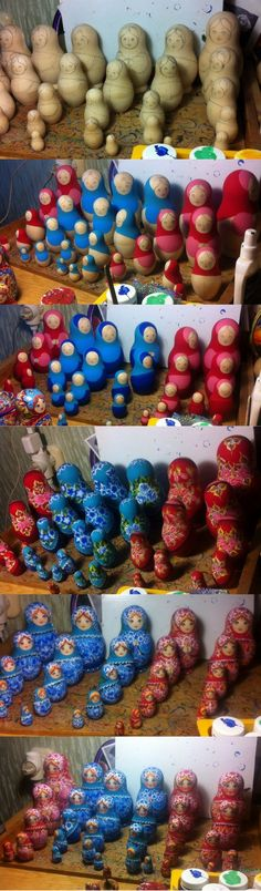Handpainted matryoshka nesting dolls by artist Nelly Marchenko, creation process