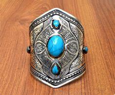 Big Afghan Kuchi Bracelet,Turquoise Tribal Bracelet,Turkmen,Hippie Ethnic Bracelet,Gypsy Jewelry,Antique Carved Bracelet,Boho Gypsy Bracelet
