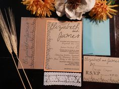 Marmalade and Teal Vintage Flower Wedding Invitation with Lace- SAMPLE. $6.00, via Etsy.