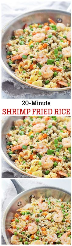 Loaded with shrimp, this Fried Rice is made with fragrant Basmati Rice and vegetables, and it only takes 20 minutes to make! (I'd likely sub chicken or pork for the shrimp because of the kids) Rice Recipes, Asian Recipes, Dinner Recipes, Cooking Recipes, Healthy Recipes, Seafood Dishes, Seafood Recipes, Camarones Fritos, Gastronomia