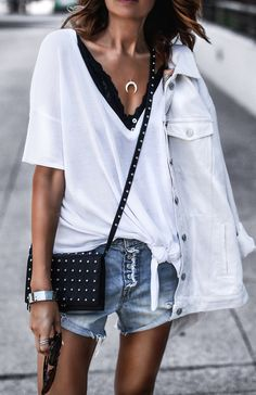 summer outfits White Tee + Ripped Denim Short