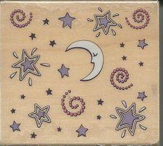 Celestial Night Stamp     NEW    Wood by CynthiasCraftingNook