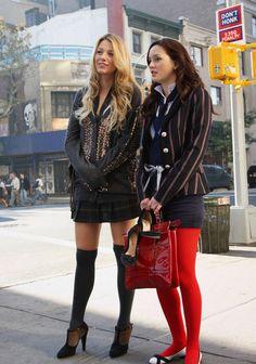 Serena and Blair, Gossip Girl   red pantyhose