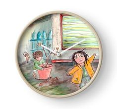 Clock for outdoorsy kids! Kids Playing, Rain, Clock, Princess Zelda, World, Fictional Characters, Decor, Fashion, The World