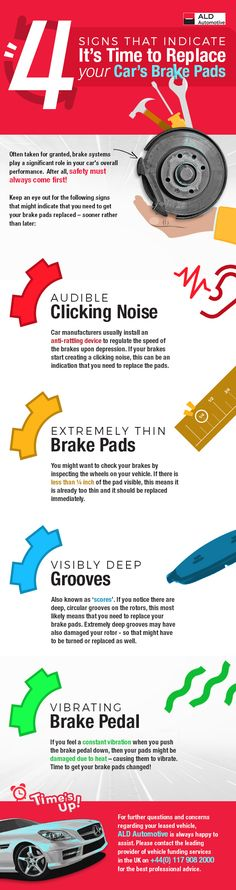 4 Signs that Indicate it's Time to Replace your Car's Brake Pads Car Brake Pads, Car Hacks, Brake System, Car Manufacturers, Car Stuff, Infographics, Vehicle, Automobile, Knowledge
