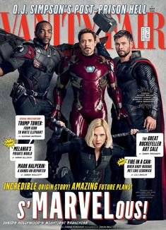 Anthony Mackie as Falcon, Robert Downey Jr. as Iron Man, Chris Hemsworth as Thor and Scarlett Johansson as Black Widow. (New Avengers: Infinity War Vanity Fair Magazine Covers)