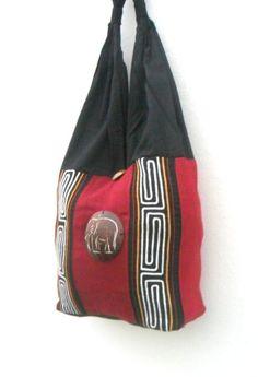 Lady Women Shoulder Bag Sling Thai Hippie Hobo Red  Black Color Bag Crossbody Bag Hippie Boho Bohemian Bag Purse Messenger Gift Bag by Avivahandmade on Etsy