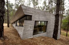 BAK Architects designed this concrete house in the forest of Mar Azul in Argentina.