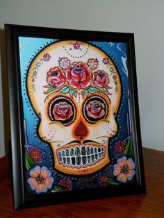 8x10 Day of the Dead Sugar Skull Print FRAMED. by Danielle1887, $16.00 Skull Artwork, Painted Canvas, Skull Print, Sugar Skulls, Sexy Heels, Day Of The Dead, Art Techniques, Love Art, Framed Prints