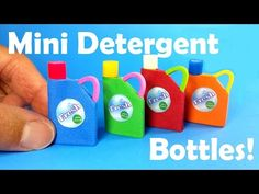 DIY Miniature Laundry Detergent Bottles (Holds Liquid!) - Dollhouse DIY - YouTube
