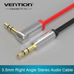 Vention 3.5mm jack Audio Cable male to male Extension Cable 90 Degree Right Angle Flat Aux Cable for Car/Headphone/PM4/PM3 *** Want additional info? Click on the image.