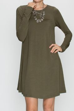 Bamboo fabric, long sleeve dress with pockets - olive Available is sizes S-XL $34.99 www.poshclicks.com