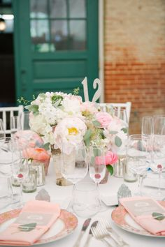 pink infused tablescape | Photography by landmhewitt.com, florals by http://intrigue-designs.com  Read more - http://www.stylemepretty.com/2013/08/09/baltimore-wedding-from-l-hewitt-photography/