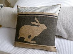 Pillows ~ Hand printed charcoal rustic boxing hare cushion cover