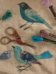 embroidery gallaghirl love embroidered birds fabric this so cute for altar skirt idea