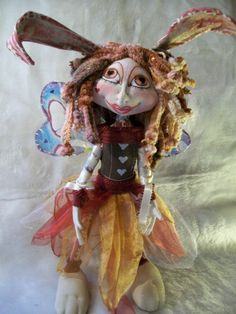 "Leena The Bunny Pixie  18""  OOAK Cloth Art Doll with Bunny ears, Brown, red and"