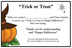 Free Trick or Treat printable for children with Autism.
