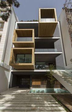 Sharifi-ha House in Tehran, Iran | turning boxes | introverted or extroverted volume | different seasonal or lighting scenarios | designed by Nextoffice #architecture #interior_design #ek_magazine