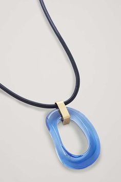 RECYCLED GLASS PENDANT NECKLACE - Blue / Black / Gold - Necklaces - COS Recycled Glass, Glass Pendants, Cow Leather, Vibrant Colors, Women Accessories, Recycling, Cos, Women Jewelry, Gold Necklaces