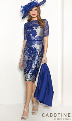 Cabotine Style 5007622...cocktail, knee length, elbow sleeve, lace, applique, scallop, dress, midi, high neck, printed, silver, blue, belt