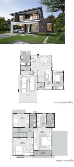 Ideas for house layout plans 2 story House Layout Plans, Modern House Plans, House Layouts, Small House Plans, Modern House Design, House Floor Plans, Duplex Design, Two Story House Design, Two Storey House Plans